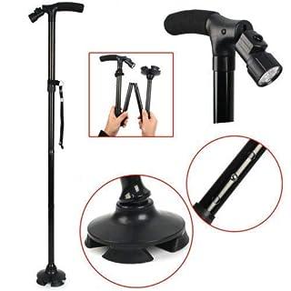 Adjustable Walking Stick Non Slip Folding Walking Cane Hiking Stick with LED Light Free Standing Base
