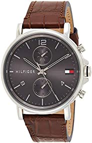 Tommy Hilfiger men's Grey Dial Brown Leather Watch - 171