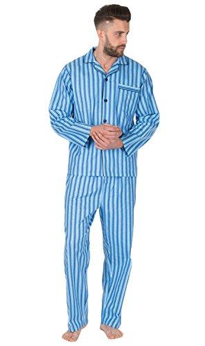 Herren Gebürstet Pure 100% Baumwollschlafanzug Winter Warm Flanell Thermo M L XL XXL - - Sky Stripe, Large (Pyjama Baumwolle Stripe)