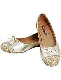 Koleksi Fashionable Golden Sparkle Party Wear Synthetic Ballerinas For Women Size IND/UK 6/39 Gold