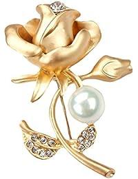 bigboba Fashion rosa broche de diamante con perlas boda novia broche Pin ropa bufanda chal Clip decoración cumpleaños Festival regalo dorado