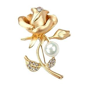bigboba Fashion Rose Brosche Perle Diamant Corsage Hochzeit Braut Brosche Pin Schal Kleidung Clip Dekoration Geburtstag Festival Geschenk Gold
