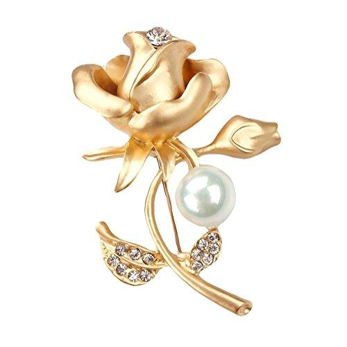 bigboba Fashion Rose Brosche Perle Diamant Corsage Hochzeit Braut Brosche Pin Schal Kleidung Clip Dekoration Geburtstag Festival Geschenk Gold (Kleidung-corsagen)