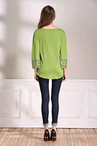 Smile YKK Sexy Tief Kragen Damen Sommer Casual Sweatershirt Langarmshirt Pullover Oberteil Shirt T-shirts Grün