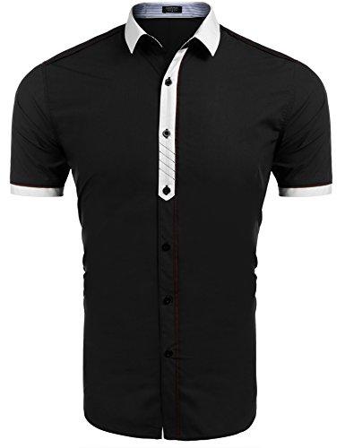 COOFANDY Hemd Herren Kurzarm Freizeithemd aus Baumwolle Kentkragen slim fit casual Shirts