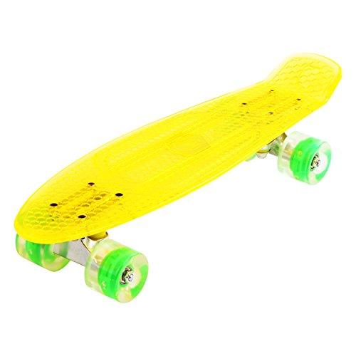 Maronad transparent Retro Skateboard LED klarer leuchtrollen ABEC 7 (Gelb)