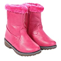 Kids Girls Boots Faux Fur Lined Pom Flat Ankle Boots with Grip Sole & Zip Fastening Pink Size 12-2
