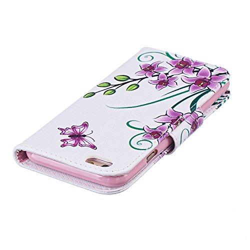 iPhone 6S Plus Tasche, Anfire Samsung Apple iPhone 6 Plus / 6S Plus (5.5 zoll) in Weiß Schwarz Magnetverschluss Kartenfächer Klapptasche Stil Schutzhülle Handyhülle Premium Geldbeutel Kunstleder Flip  Blumen und Schmetterling