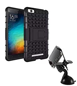 Aart Hard Dual Tough Military Grade Defender Series Bumper back case with Flip Kick Stand for Xiaomi MI4C + Car Mobile Holder Mount Bracket Holder Stand 360 Degree Rotating by Aart store.