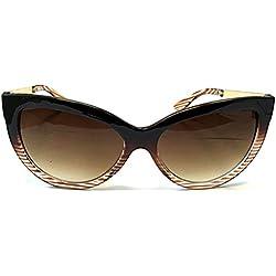 Accessoryo - braunen Streifen Katzenauge Sonnenbrille mit Goldmetall Arme Frauen