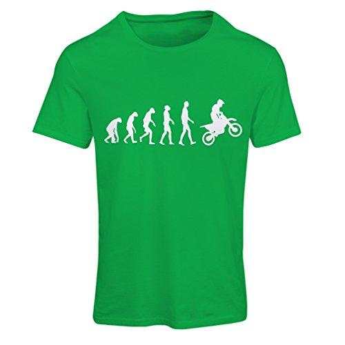 Frauen T-Shirt Motocross-Entwicklungs-Schmutz-Fahrrad, Motorrad-Gang, laufende Abnutzung, Motorrad Weg von Roading (X-Large Grün Weiß)