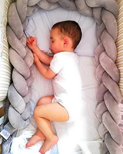 Paracolpi Lettino Bambino imbottito - Protezione culla lunghezza 2M - Protegge testa braccia gambe - Cuscino intrecciato a mano misure 200cm x 15cm x 8cm