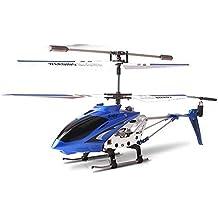 Ollivan® Ursprüngliche Syma S107G S107 3.5CH Mini RC Hubschrauber mit Gyro Funkfernsteuerung Indoor Outdoor Drohne mit Aluminiumrahmen errichtet im Gyroskop(Syam blau)