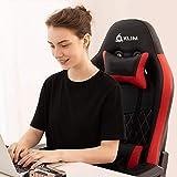 KLIMTM Esports - Chaise Gaming + Simili Cuir et Matériaux Premium Haute Qualité + Chaise Gamer inclinable + Ergonomique avec Coussin Lombaire et Cervical + Fauteuil Gamer Rouge Nouvelle Version 2019