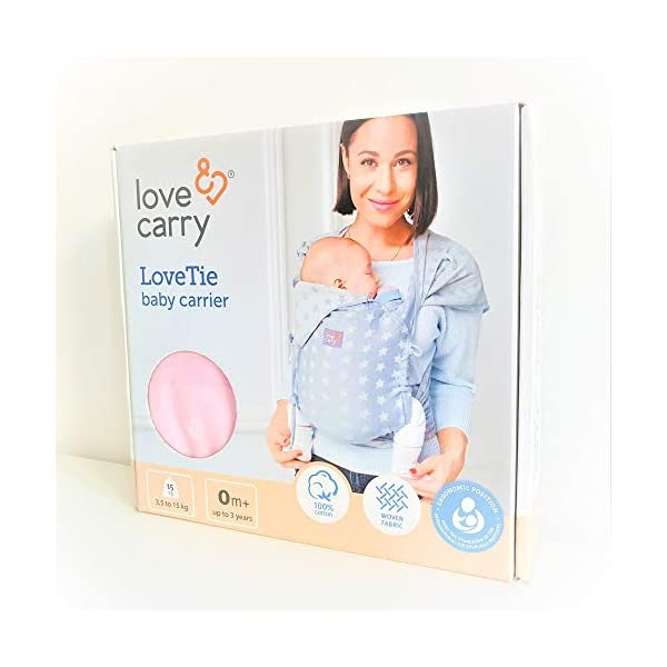 Love & Carry® Love Tie/Mei Tai Baby Carrier Ergonomic Newborn Belt Grigio Star Love and Carry® Love Tie Baby Carrier is ergonomic and extremely comfortable (both for parent and baby). Ergonomic M position for healthy hip and spine development It is practical, immediate and extremely intuitive in use, Love Tie is one size fits all and with easily adjustable shoulder straps. Love Tie Love and Carry is a good baby carrier for use already with babies, and is packaged in durable cotton fabric and perfectly holds the growing weight of the baby (up to 15-18 Kg). 8