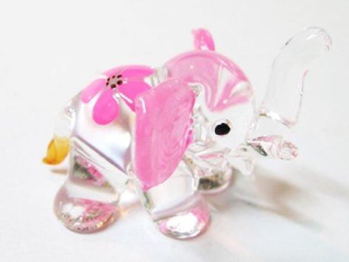 Sammlerstück Miniatur GEBLASENES Kunst Glas Elefant Größe S HAND, Blumen bemalte Figur Sammlung