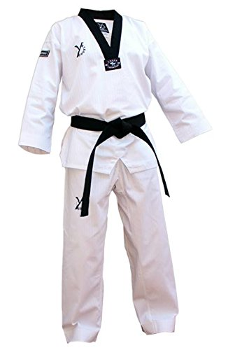 DOUBLE Y DESTINY: dobok de taekwondo, color negro., blanco, 180