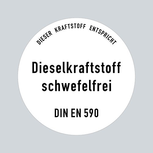 Preisvergleich Produktbild Aufkleber Sticker 10cm Diesel Dieselkraftstoff schwefelfrei DIN EN 590 Kraftstoff Tank Kanister Tankstelle Zapfsäule Hinweis (5)