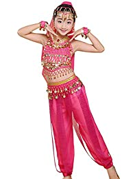 uirend Danza Ropa Niña Vestidos - Kids Belly Dance Halter Top Pantalones Harem Disfraces de Halloween