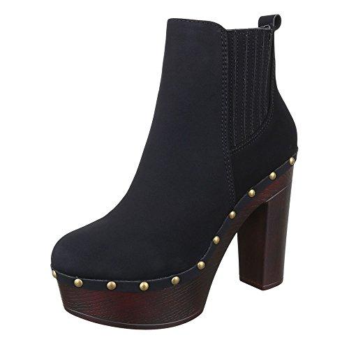 l Stiefeletten Damen Schuhe Schlupfstiefel Pump High Heels Reißverschluss Stiefeletten Schwarz, Gr 38, F99- (Fuß Soldaten Kostüm)