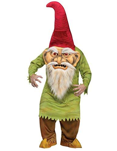 Horror Zwerg Märchen Halloween Kostüm grün rot talla media/grande rot (Buschigen Bart Kostüm)