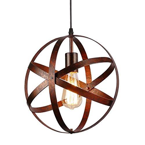 lampadario vintage industriale, edison lampada elegante da soffitto, gabbia in metallo lampada a sospensione per cucina, soggiorno, corridoio, ristorante, caffè, diametro 30cm, e27, rust, regolabile