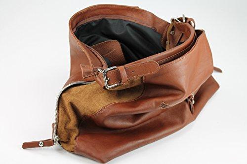 Belli ® étui en cuir nappa-couleur au choix :  sac à shopping 38 x 32 x 13 cm (l x h x p) Marron - Maronenbraun