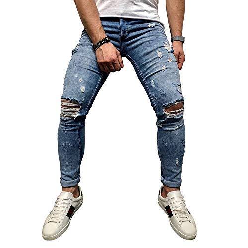 BMEIG Jeans Hombres Rotos Slim Fit Ripped Estiramiento Rodilla Destruido Flaco Denim Apenado Biker Jeans Diseñador Clásico Orificios Hip Hop Pantalones M-3XL Azul