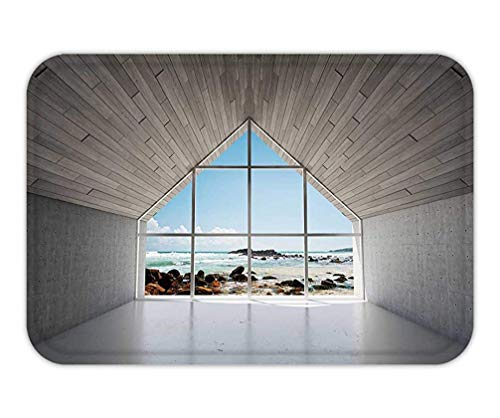 Möbel Turtle Bay (Trsdshorts Doormat Empty modern Lounge Area with Large Bay Window and View of sea d Illustration)