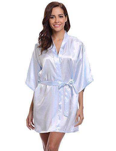 Aibrou Damen Kimono Morgenmantel Bademantel Kurz Schlafanzug Nachtwäsche Satin V Ausschnitt mit Gürtel (XL, Hellblau)