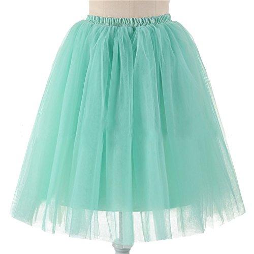 URVIP Damen's 5 Layer Knielanger Rock Elastic Bund Tutu Prinzessin Tütü Tutu Petticoat Ballettrock One Size - Victoria Ballett Kostüm