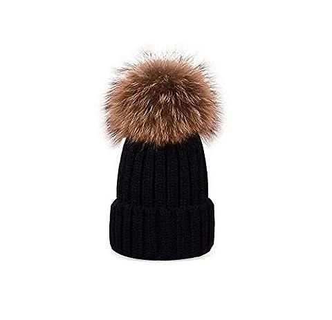 1 Modische Eltern-Kind-Winter Erwärmung Crochet Knit Hat - Abnehmbare Pom Pom Hat Mütze Ski Cap, (Earflap Knit Cap)