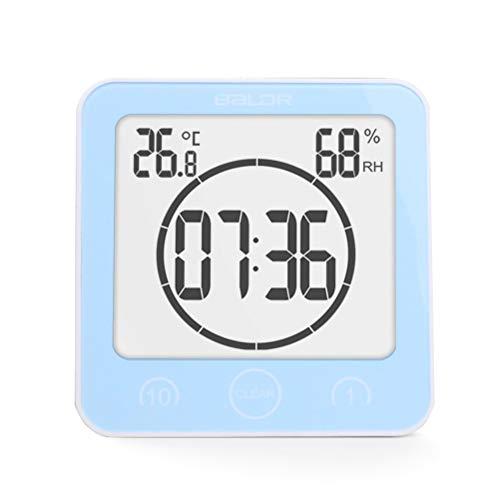 Neborn Horloge hygromètre numérique de température, Montage Mural, étanche pour Salle de Bain 11 * 10.6 * 4 cm Bleu