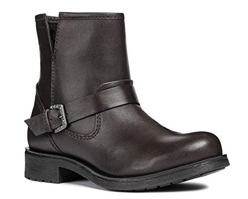 Geox D846RC Rawelle Modischer Damen Leder Stiefel, Biker Boot, Schlupfstiefel, Ankle Boot, Atmungsaktiv, Reißverschluss Braun (Coffee), EU 36