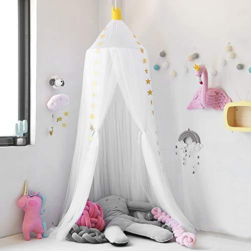 Nibesser Baldachin für Kinder/Babys 100% Polyester Gewebe Romantischer Betthimmel Moskitonetz Kinderbett für Kinderzimmer Hohe 240cm (Weiß) - Baby-mädchen-kinderzimmer-fenster-vorhang