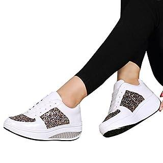 MRULIC Damen Gym Turnschuhe Freizeit Schnürer Sportschuhe Pailletten Glänzende Outface Schuhe Laufschuhe Sneaker Wedges Schuhe(Weiß,36 EU)