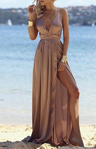 Minetom Donna Estate Vestiti da Sera Eleganti Lungo Abiti da Cocktail Senza Maniche Scollo a V Dress Senza Schienale Marrone chiaro