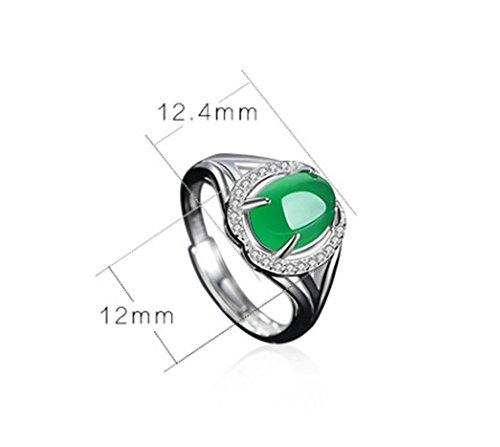 ZXH Neue Natürliche Grüne Chalcedon Ring S925 Silberring Europäischen Und Amerikanischen Mode Ring Eröffnung Frauen Ring