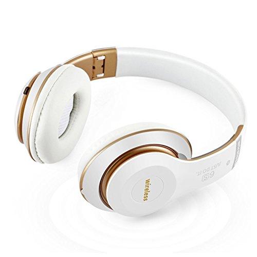 Subtop Drahtloser Kopfhörer, faltbarer drahtloser Bluetooth Über-Ohr Kopfhörer für Handys Fernsehapparat PC Laptop (Weiße-Gold)