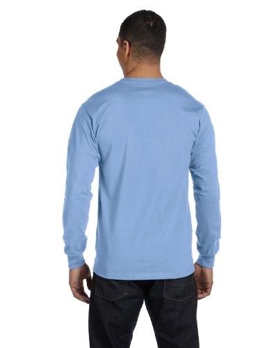 Hanes Tagless Long-Sleeve T-Shirt (Set of 2) Light Blue / Deep Forest