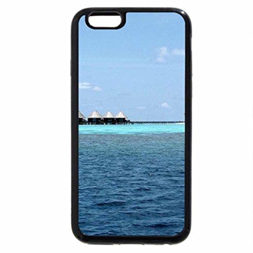iPhone 3S/iPhone 6Coque (Noir) Eau Villas en Maldives Paradise