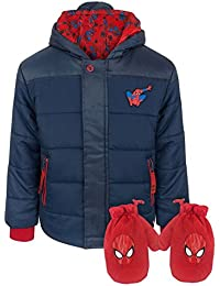 Spider-Man Boy's Navy Coat and Mittens Set