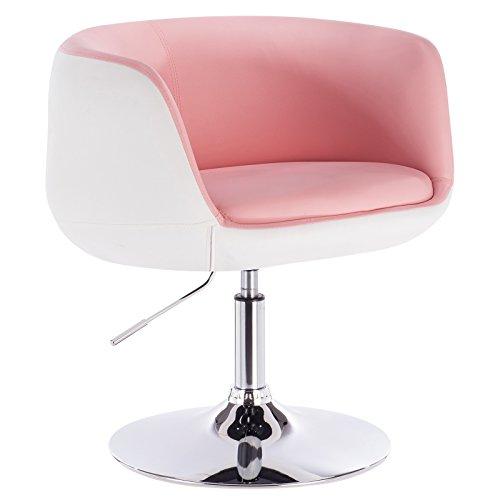 Woltu BH42rsw-1 1 x Taburete de Bar Silla fácil con reposabrazos imitación Cuero 2 Colores (Rosa+Blanco)
