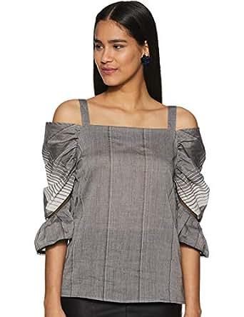 Krave Women Striped Regular fit Top AW18KRAVE_KRITIKA04 Grey S