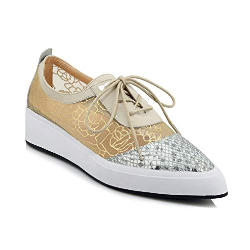 YAN Damenmode Schuhe Neue Frühlingsschale Leibesheere Leder + Mesh Ladies Low-Top Casual Shoes Sequin Pointed Flat Platform Shoes,Gold,34