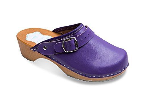 futuro Fashion femmes en bonne santé naturel cuir véritable en bois semelle Uni sabots unisexe Couleurs Tailles 3-8 UK Lilas