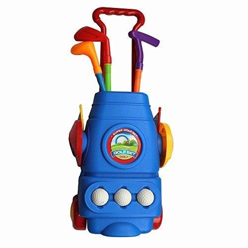 crestgolf Neue offizielle Deluxe Golf Caddy Set Kinder Kunststoff Golf Schläger Caddy Tasche Set Spielzeug