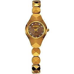 Wolframstahl Women Watch Mode Armband wasserdicht Damenuhr , Golden