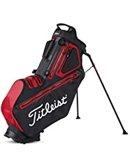 Titleist Players 5 stadry Golf Standbag – Resistente al agua – Double To Single Sistema de cinturón (Negro), negro y rojo