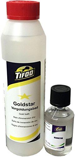 Gold-Star Goldbad (250 ml) - Stromlos vergolden, Alternative zu Gold-Elektrolyt – Keine Vorkenntnisse benötigt (Ausrüstung Galvanik)